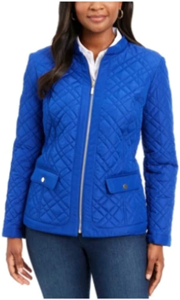 Charter Club Quilted Mandarin-Collar Jacket, Modern Blue XS