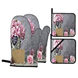 Juego de 4 Guantes y Porta ollas para Horno Resistentes al Calor Cubo de Zinc con Flores de Clavel Rosa Happy para Hornear en la Cocina,microondas,Barbacoa