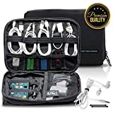 Cable Organizer Bag by Top Tech Bags – Double Layer, Waterproof, Spacious Gadget Bag for Cables, Memory Sticks & Cards, Power Bank, Earphones, Disk Drives, Phone – Perfect Traveling Companion