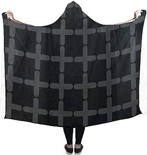 VNASKL Hooded Blanket Cross Pattern Black Black White Blanket 60x50 inch Comfotable Hooded Throw Wrap