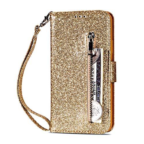 Yobby Glitzer Brieftasche Hülle für Samsung Galaxy Note 10,Gold Handyhülle,Bling Slim Reißverschluss Leder Schutzhülle Flipcase [Stand-Funktion] mit Kartenfach und Handschlaufe