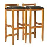 Lot de 2 tabourets de Bar Style Colonial L 36 x l 35 x H 85 cm Bois Acacia