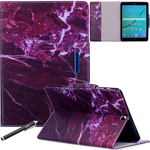 Galaxy Tab S2 9.7 Case, Newshine PU Leather Folio Wallet Cover Case with [Multi-Stand View Angles] [Auto Wake/Sleep Function] for Samsung Galaxy S2 9.7 T815 Tablet - Fuchsia Marble