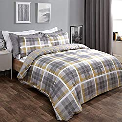 """Dreamscene denim check print quilt duvet cover with pillow case bedding set, 2-in-1 reversible tartan check design Colour: Ochre yellow tartan print, with an inverted check print on the reverse Double Size: Fits duvet cover - 198cm x 198cm (78"""" x 78""""..."""