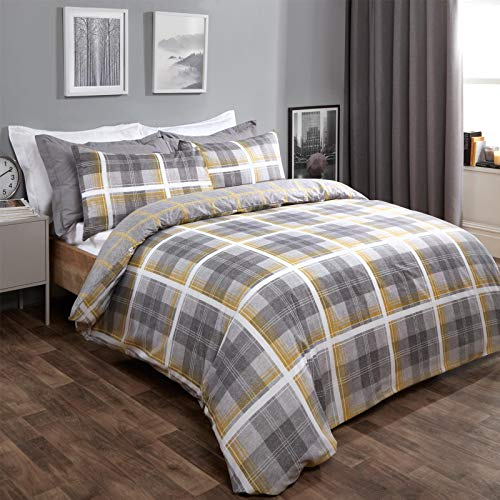 Dreamscene Denim Check Duvet Cover with Pillowcase Reversible Tartan Bedding Set, Ochre Yellow Charcoal Grey- King
