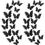 120 Piezas 60 Pares de Pegatinas de Mariposa Desmontables Adornos de Pared en Mariposa 3D de Hueco para Habitación de Bebé Decoración de Boda (Negro)
