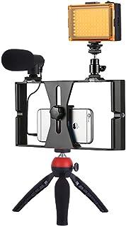 TransmisióN En Vivo De 4 En 1 Vlogging, Led Selfie Light, Kits De Video Para TeléFono Inteligente, Con MicróFono + Soporte...