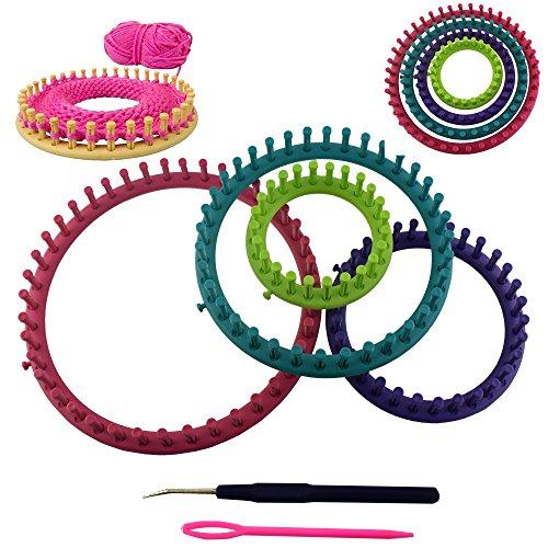 trends4ever 6 TLG. Strickringe Set - 4 Ringe in verschiedenen Grössen mit Nadel und Haken und ausführlicher Anleitung