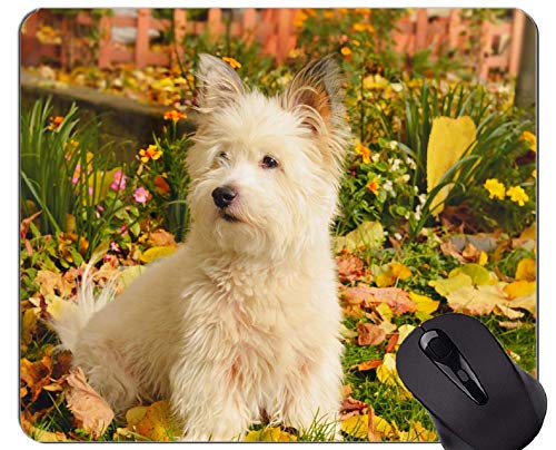 Yanteng Alfombrilla de ratón de Caucho Natural para Juegos, Impresa con Perro Terrier Blanco - Bordes cosidos