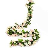 HEJIAYI Artificial Rose Flower Garland for Decoration Fake Rose Flower Vines for Wedding Fake Silk Flower Garland for Weddings, Home, Office, Party(Mix Colour 1)