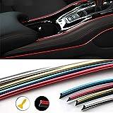 Maso - Moldura para interior de coche, decoración universal, 5 m, tira 3D de ABS púrpura con herramienta