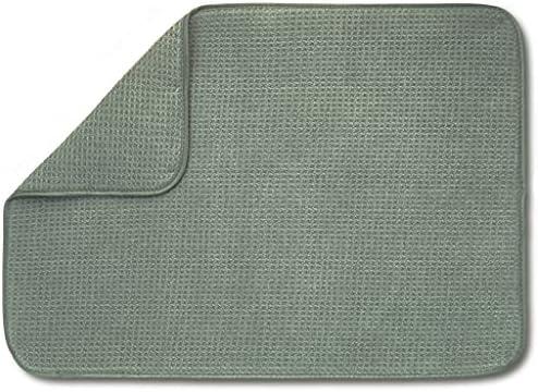 "XXL Dish Mat 24"" x 17"" (Largest MAT) Microfiber Dish Drying Mat, Super Absorbent by Bellemain (Gray)"