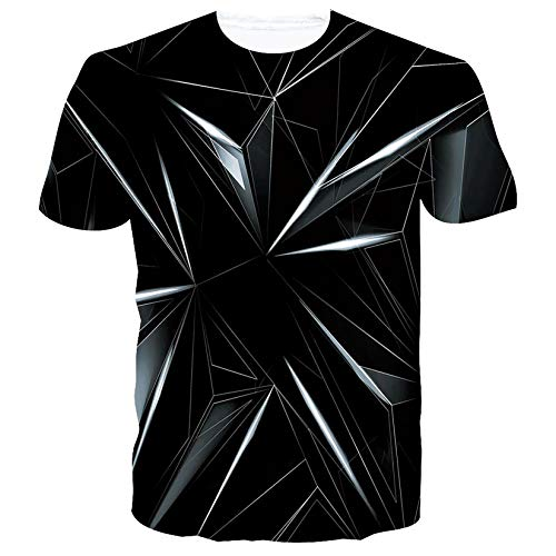 SunFocus Magliette Uomo Manica Corta 3D Stampa T-Shirt Divertenti Grafica Nera Girocollo Personalizzato Maglietta Estate S