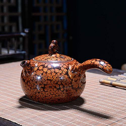 Ksnrang Keramische thee set glazen waterkoker theepot set huishoudelijke keramische enkele pot kleine theepot zwarte thee maker Side Handvat Pot-Calendula Type 2 inch