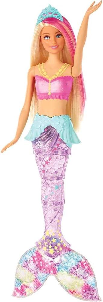 Barbie dreamtopia bambola sirena, bionda con coda che si muove e luci GFL82