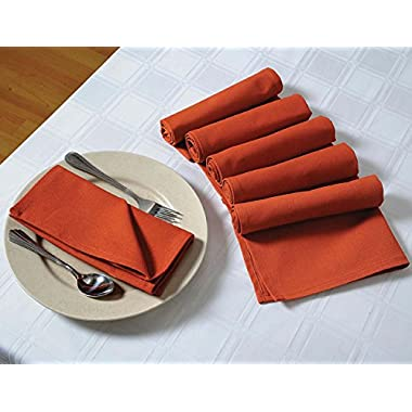 ShalinIndia Cotton Dinner Napkins - 20  x 20  - Set of 12 Premium Table Linens for the Dining Room - Rust