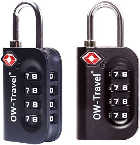 OW-Travel Candado maleta TSA Anti robo. Candado numerico 4 Digitos. Candado Combinacion Taquilla. Candados para mochilas y maletas. Candado Taquilla Gimnasio. TSA Candado seguridad equipaje Negro 2