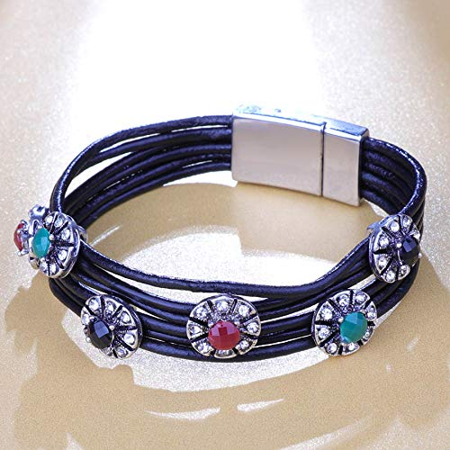 Vintage Flower Leather Charms Bracelets For Women Men Multiple Layers Magnetic Bracelets Fashion Jewelry H 19cm