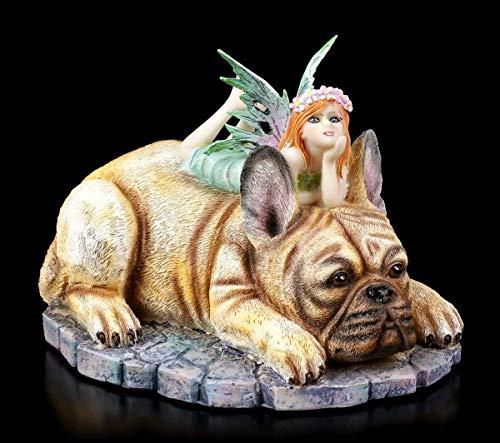 Elfen Fantasy Figur auf Französischer Bulldogge - Canine Companion | Engel-Figur, Fee, Deko-Figur, Deko-Artikel, B 14 cm