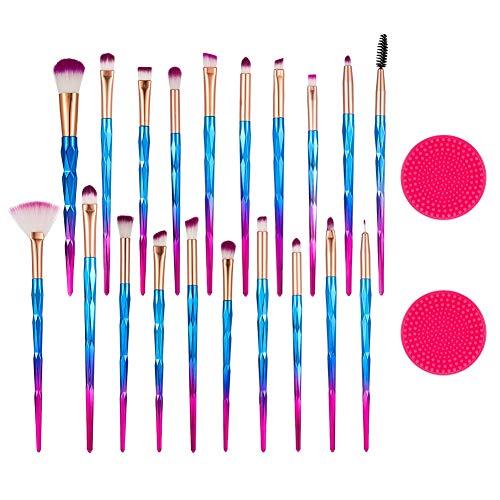 Joeleli Make-up-Pinsel, 20 Stück Premium-Kosmetik-Make-up-Pinsel-Set für Foundation Blending Blush Concealer Lidschatten-Silikon-Reinigungspads enthalten