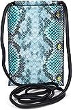 styleBREAKER Bolso de Bandolera para el móvil de Mujer en óptica de Piel de Serpiente, Bolso de Hombro, Bolso de Mano para el móvil, minibolso 02012306, Color:Turquesa-Azul