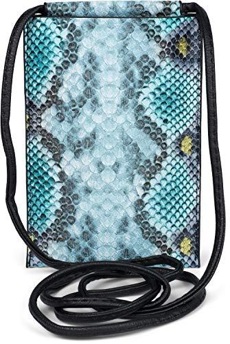 styleBREAKER Damen Handy Umhängetasche in Schlangen Optik, Schultertasche, Handy-Tragetasche, Mini Bag 02012306, Farbe:Türkis-Blau