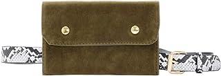 Ultramall Fashion Women Solid Color Suede Hasp Messenger Bag Chest Bag Snake Print Waist Bag Phone Bag For Women