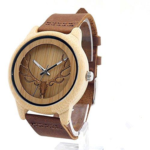 Hirsch Unisex Holz Armbanduhr Naturholz Bambus Uhr Retro Quarz Leder Braun Uhren für Frauen Herren,Geschenk-Box