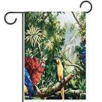 ガーデンフラッグ縦型両面 28x40in 庭の屋外装飾.葉の水彩画と鳥