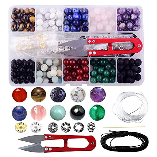 Bingxue Gem Bead Box Set 240 Piedras Sueltas Redondas Amatista Natural Lava Pulsera de Colores Mezclados Kit de Herramientas para Hacer Joyas