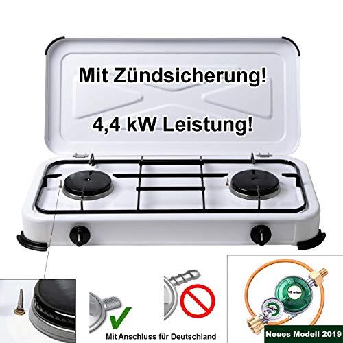 Ertex Gaskocher Gasherd Campingkocher mit Grillaufsatz N und mit 4 Gaskartuschen