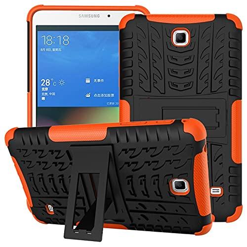SZCINSEN Funda para tablet Samsung Galaxy Tab 4 / T230 con textura de neumáticos a prueba de golpes, TPU y PC con asa plegable (color: naranja)