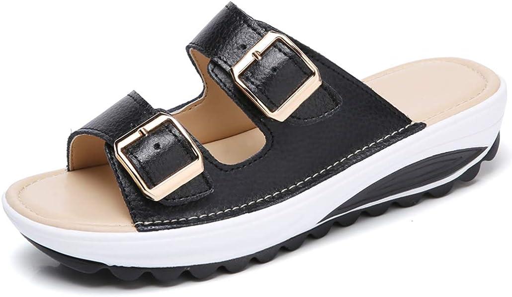 GCOCO Women's 激安通販専門店 Buckle Leather レビューを書けば送料当店負担 Platform Slide Sandals Belt Double