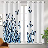 Living Room Curtains 52x45 Inch - Butterflies Decoration Collection,Butterflies Bottom Left Corner Flying Tropical Vibrant Color Monarch Wings Image,Blue Black