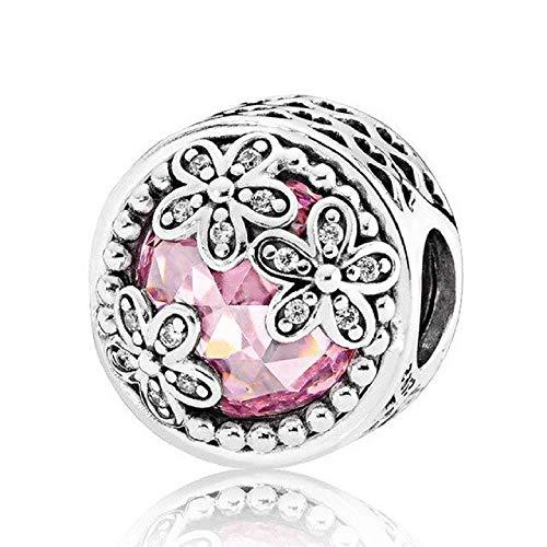 Desconocido JCaleydo – Fiori rosa in argento Sterling 925 con scatola regalo, compatibile con bracciale Pandora
