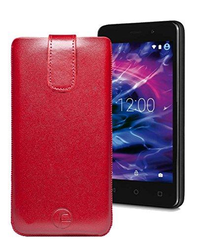 Original Favory Etui Tasche für MEDION LIFE E4504 | Leder Etui Handytasche Ledertasche Schutzhülle Hülle Hülle Lasche mit Rückzugfunktion* in rot