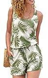 JFAN Mono de una Pieza Chaleco con Estampado de árbol de Coco Verde Pantalones de Verano para Mujer Ropa de Playa Informal Ropa de Playa Elegante(Verde,M)
