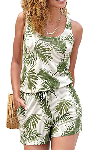 JFAN Mono de una Pieza Chaleco con Estampado de árbol de Coco Verde Pantalones de Verano para Mujer Ropa de Playa Informal Ropa de Playa Elegante(Verde,XXL)