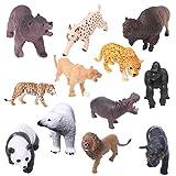 ruiruiNIE 1Pc Plastik Zoo Tierfigur Modell Tiger Leopard Hippo Giraffe Kinderspielzeug