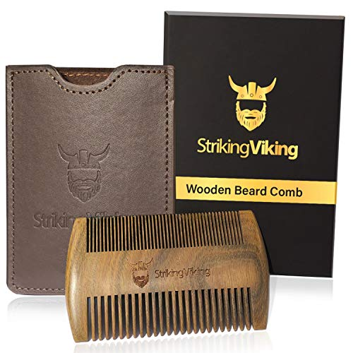STRIKING VIKING Wooden Beard Comb for Men - Heavy Duty, Pocket Sized Beard and Mustache Comb with Fine and Coarse Teeth- Use Dry or with Balms and Oils - Includes Gift Box and Brown Carry Case