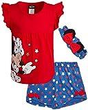 Disney Girls 2 Piece T-Shirt Knit Short Set: Minnie Mouse & Pooh Bear (Infant, Toddler, Little Girls) (Red/White/Blue Minnie, 18 Months)