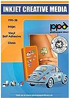 20 x PPD A4 Blatt Inkjet Vinyl Aufkleberfolie Weiß Glänzend Selbstklebend - Wasserfest, Reißfest und Strapazierfähig