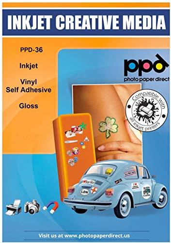 PPD A4 x 10 Pegatinas de Vinilo Autoadhesivo Brillante Imprimibles de Grado Comercial - Secado Instantáneo y A Prueba de Desgarro - Para Impresora de Inyección de Tinta Inkjet - PPD-36-10