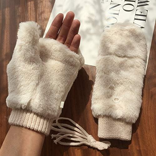 Faux Fur Thick Wrist Mitten Women Gloves Fingerless Warmer Winter Knitted Gloves New Wrist Trim Gloves - (Color: White, Gloves Size: One Size)