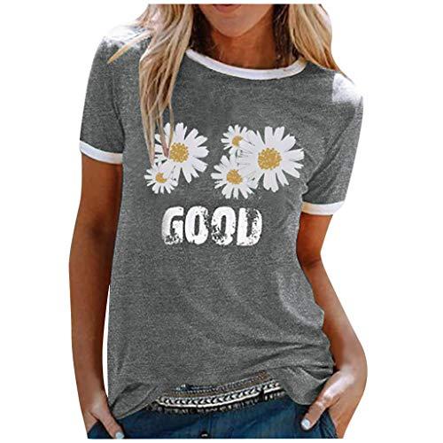 JUTOO Damen Sommer Top Letter Daisy Print Kurzarm Patchwork T-Shirt Bluse(G Grau,XL)