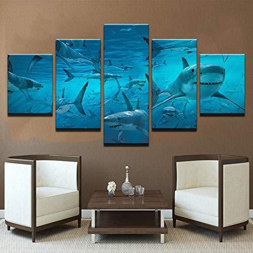 LIBIHUA Cartel De La Lona Arte De La Pared Impresiones Modulares Imágenes 5 Piezas Azul Deep Sea Shark Swarm Paintings para La Sala De Estar Decoración del Hogar Marco 150x80cm Marco