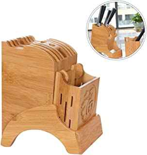 Universal Knife Block, Home Bamboo Knife Storage Block, Encimera Butcher Block Knife Holder, Organizador y almacenamiento de cuchillos de cocina, Hogar y cocina