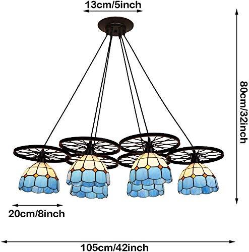 Plafondlamp met meerdere koppen kroonluchter blauw glas handgemaakte lampenkap 6-lamp plafond opknoping licht voor binnen huishoudelijke en commerciële verlichting