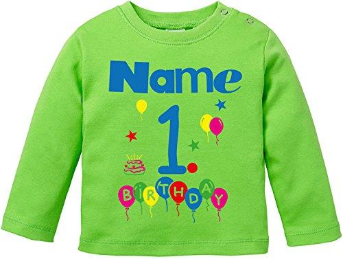 EZYshirt® Geburtstag Wunschname Wunschnummer Baby T-Shirt Longsleeve Bio Baumwolle