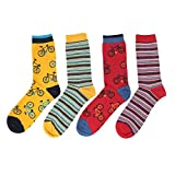 Thought Men's Premium Eco-Friendly Breathable Bamboo Cycling & Stripe Socks | Pack of 4 | Size 7-11 |